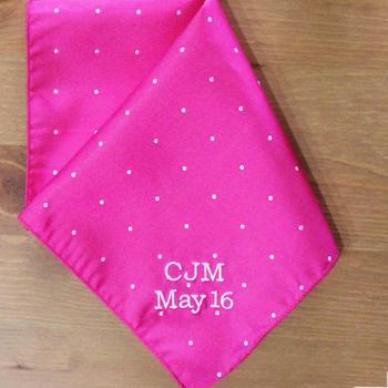 Pocket Square Personalised Pink Pin Dot Satin Handkerchief