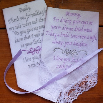 Wedding Handkerchief Set Pair of Mother and Father Wedding Poems
