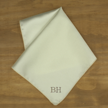 Pocket Square Personalised Ivory Satin Handkerchief