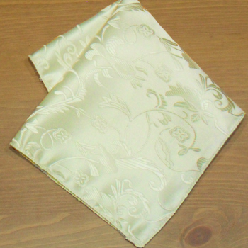 Ivory Pocket Square Satin Jacquard Hankderchief