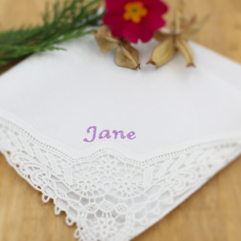 Personalised Ladies Handkerchief Crochet Lace Corner Hanky