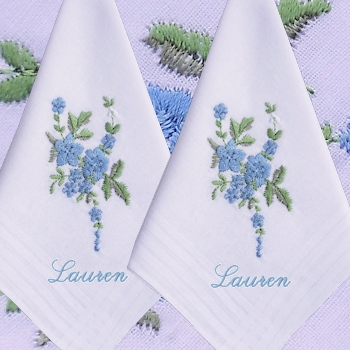 Ladies Handkerchiefs Blue Flower Spray Personalised Hankies