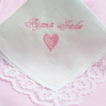 Wedding Handkerchief Bespoke Embroidered Ladies Irish Linen Hanky
