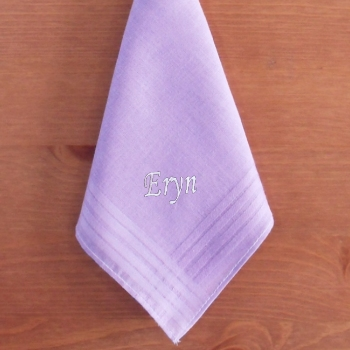 Ladies Personalised Handkerchief Light Purple Cotton Hanky