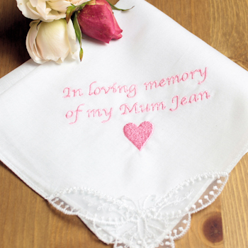 Memorial Handkerchief Personalised Sympathy Hankie