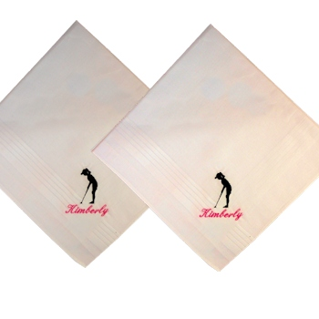 Golf Handkerchief Lady Golfer Personalised Hankie