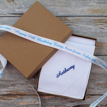 Embroidered Handkerchiefs Gift Boxed Hankies with Personalised Ribbon