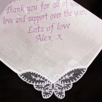 Wedding Handkerchief Ladies Long Message Embroidered Hanky