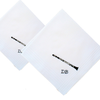 Music Handkerchiefs Personalised Instrument Embroidered