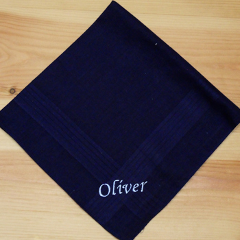 Navy Blue Handkerchief Mens Personalised Cotton Hanky
