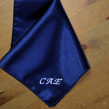 Pocket Square Personalised Navy Satin Handkerchief