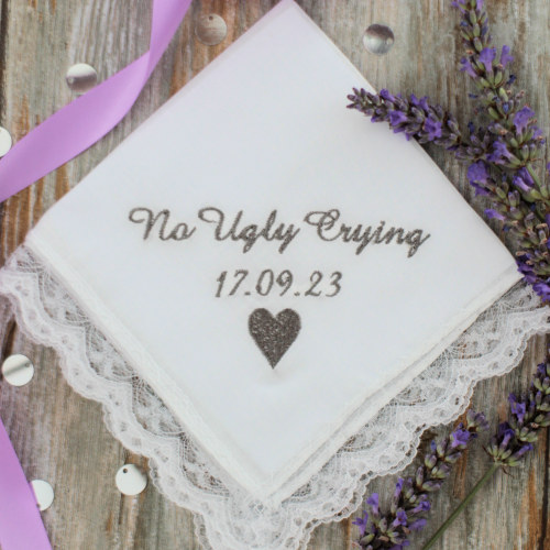 Ladies Wedding Handkerchief No Ugly Crying Lace Hankie