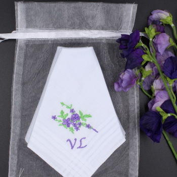 Ladies Handkerchiefs Purple Flower Spray Personalised Hankies