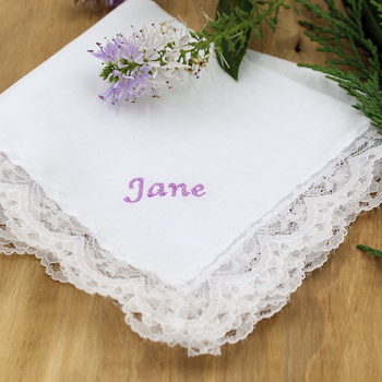 Ladies Lace Handkerchief Personalised Cotton Handkerchief Lace Trim