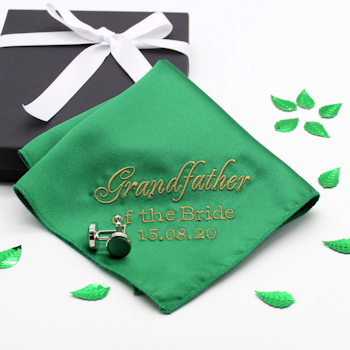 Personalised Wedding Handkerchief Green Cufflinks Gift Set