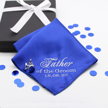 Personalised Wedding Handkerchief Royal Blue Cufflinks Gift Set