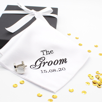 Personalised Wedding Handkerchief White Cufflinks Gift Set