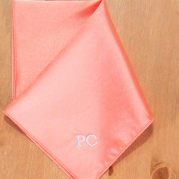 Pocket Square Personalised Coral Satin Handkerchief