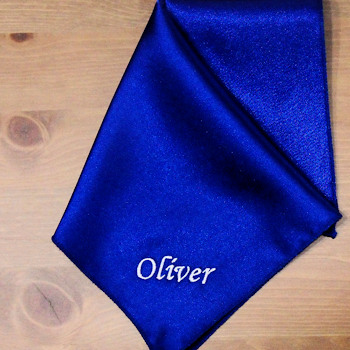 Pocket Square Personalised Royal Blue Satin Handkerchief