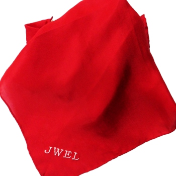 Embroidered Pocket Square Red Silk Handkerchief
