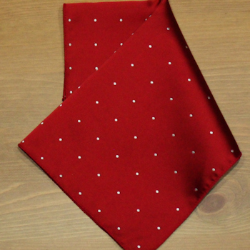 Satin Pocket Square Red Pin Dot Handkerchief