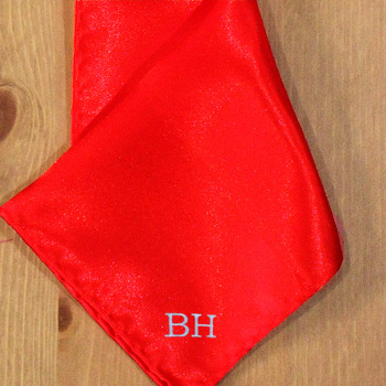 Pocket Square Personalised Red Satin Handkerchief