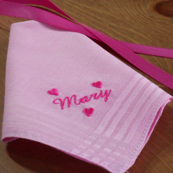 Pink Hearts Handkerchief Ladies Personalised Hanky