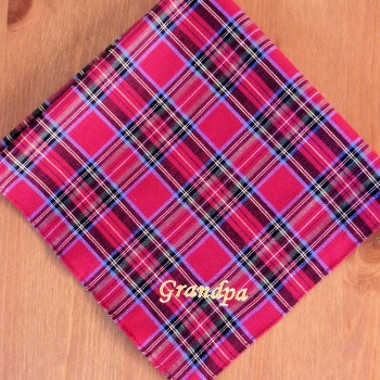 Personalised Handkerchief Mens Red Stewart Tartan Hanky