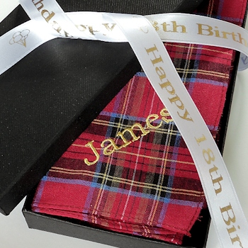 Tartan Hankies Set<br>Personalised ribbon boxed gift
