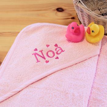 Baby Hooded Towel Personalised Pink Baby Towel