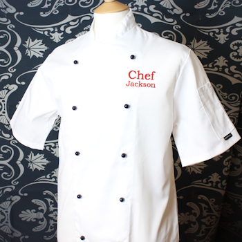 Personalised Chefs Jacket White Short Sleeve Chef Jacket Embroidered