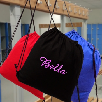 Cotton Drawstring Bag Black School Swim or Gym Bag Personalised
