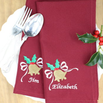 Christmas Napkins Holly Bells Personalised Napkins Set