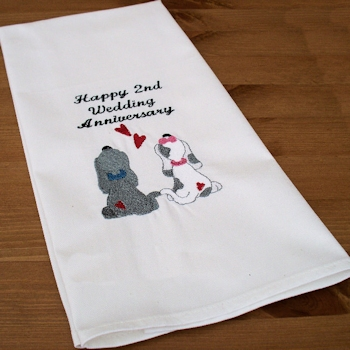 Wedding Anniversary Puppy Love Tea Towel Personalised