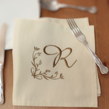Monogrammed Cream Cotton Dinner Napkin