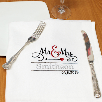 Wedding Napkins Mr and Mrs Personalised Napkin