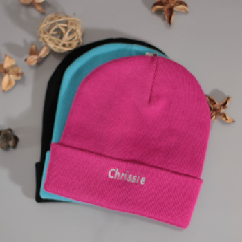 Personalised Beanie Cuffed Hat Dark Pink
