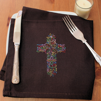 Personalised Cloth Napkins Embroidered Floral Cross Brown Napkin