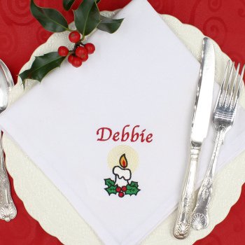 Christmas Napkin Personalised Candle Embroidered Napkin
