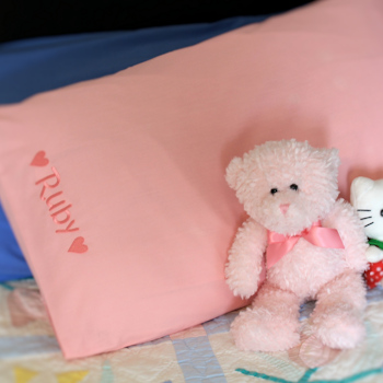 Personalised Pillowcase Kids Pink Embroidered Pillowcase