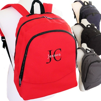 Personalised Backpack Red Rucksack School Bag