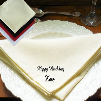 Personalised Cloth Napkins Cream Dinner Napkin
