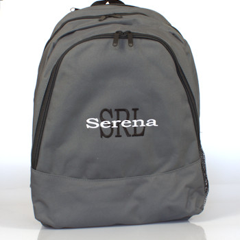 Personalised Backpack Grey Monogrammed Rucksack