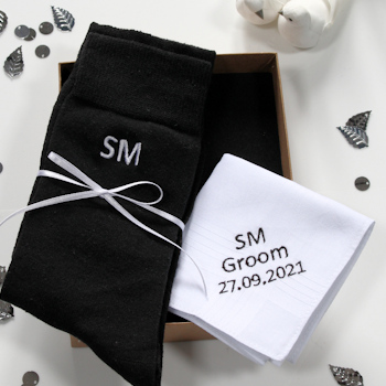 Personalised Groom Gift Boxed Set Handkerchief and Socks