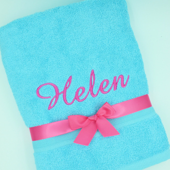 Personalised Towel Aqua Bath Towel