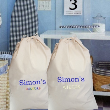 Personalised Laundry Bags Whites and Colours Dirty Clothes Sacks