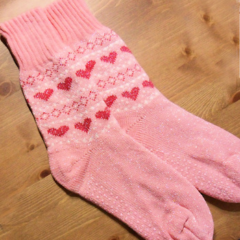 Ladies Slipper Socks Pink Hearts and Glitter