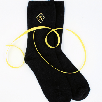 Monogrammed Socks Embroidered Initial Black Socks