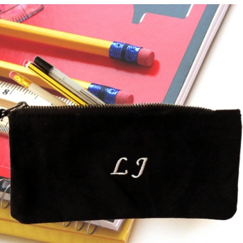Personalised Pencil Case Embroidered Black Canvas Pen Case