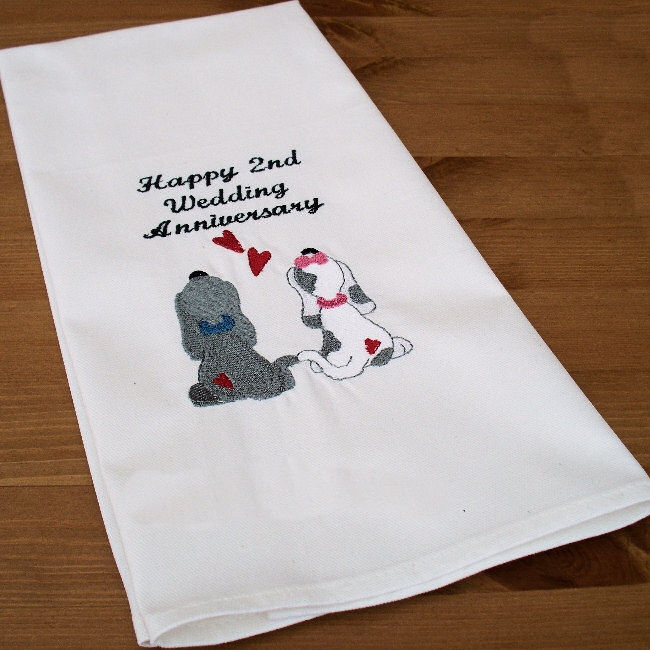 Cotton Wedding Gift: Wedding Anniversary Gift Puppy Love Tea Towel Personalised
